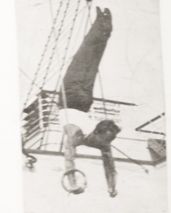 American Sokol practices on the rings on a ship sailing across the Atlantic