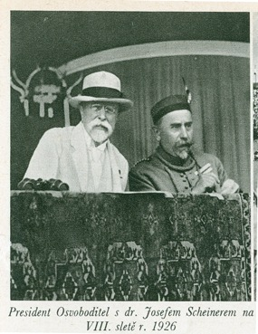 Czechoslovak President Masaryk, a Sokol member, watches with Sokol President Scheiner