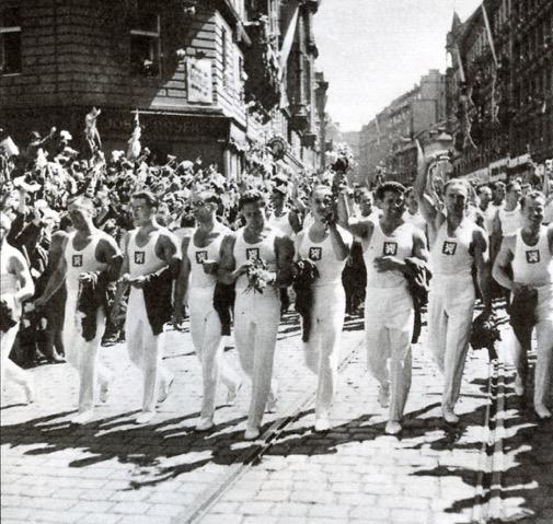 Czechoslovak world gymnastic championship men's team marching in Slet parade