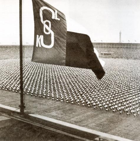Sokol flag flying above Strahov Stadium