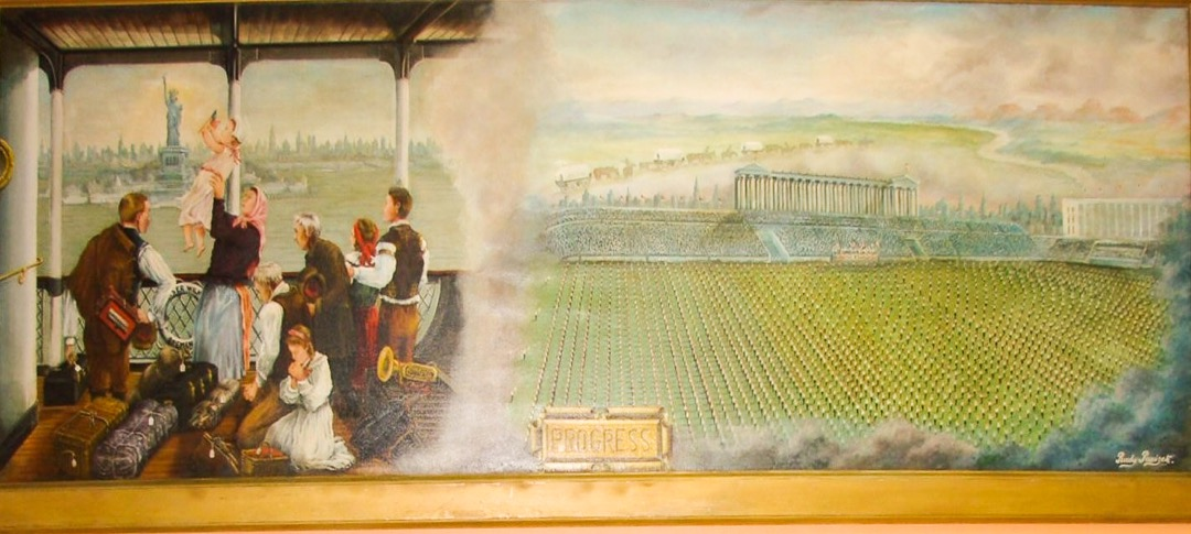 The immigrant's journey is depicted in this painting by Rudolf Parizek (1894-1974)