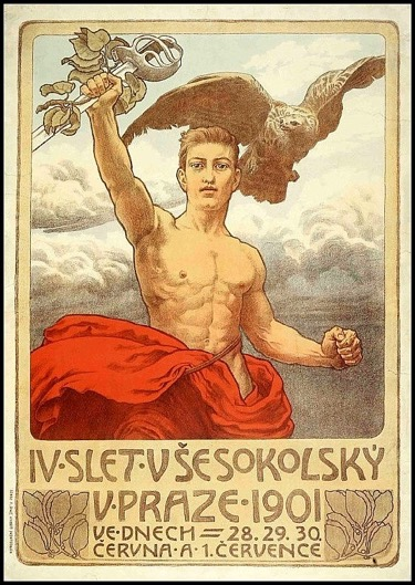 poster displaying a strong man with a sword and the falcon (a bird of prey).