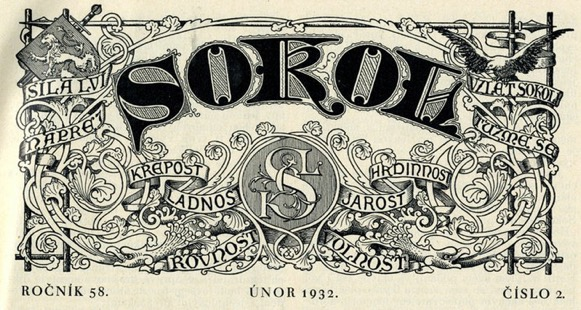 """the cover of a 1932 Sokol journal lists some of the inspiring words of the Sokol movement – """"let us harden ourselves; equality, heroism, strength, forward."""""""