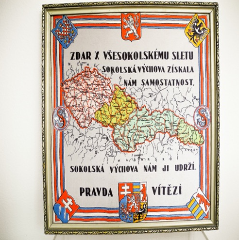 framed silk banner illustrates the value Sokols placed in the organization's training and philosophy.