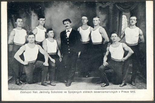 American Sokol team at the 1912 Sokol Slet in Prague with Josef Čermak