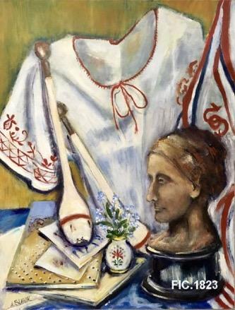 Photo of oil painting with bust of Marie Provazníková