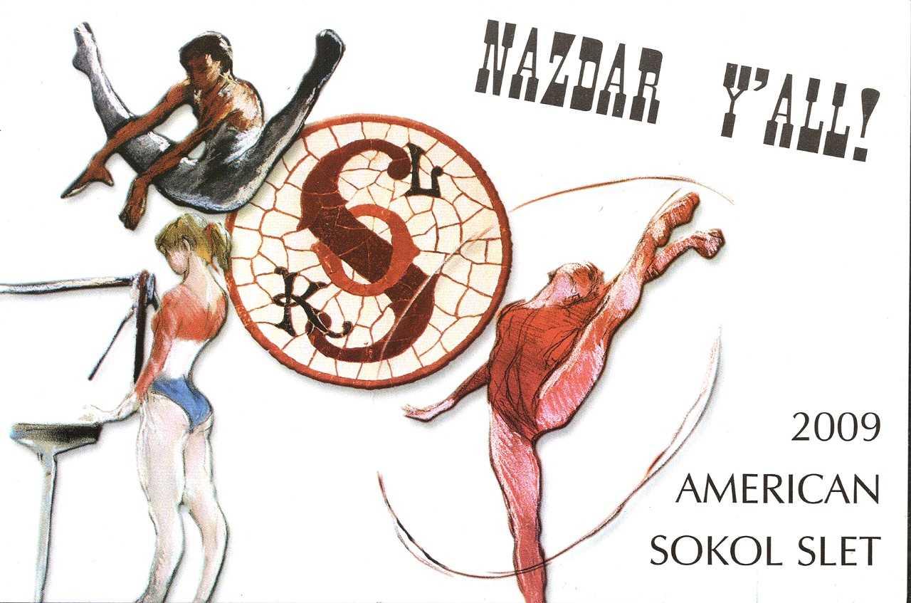 Postcard for XXII Slet in Fort Worth (by Czech artist, Milan Med )