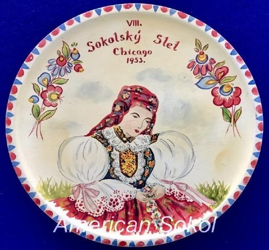 Slet souvenir Plate with woman in Czech costume (kroj)