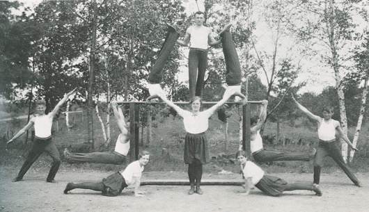 Sokol members forming a pyramid