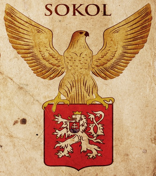 Sokol (the falcon) with the seal of Czechoslovakia