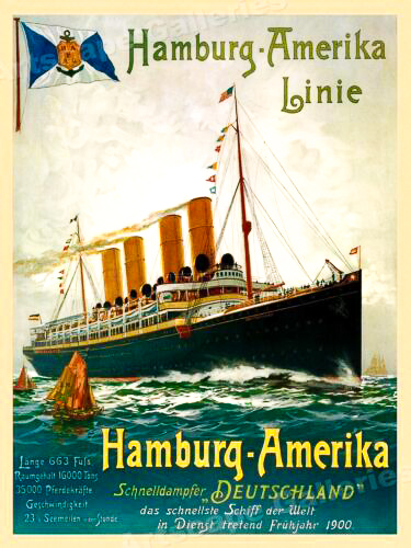 advertises the German Cruise Line that was available for Czechs traveling to America