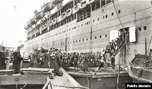 boarding a ship which sailed around the world to France